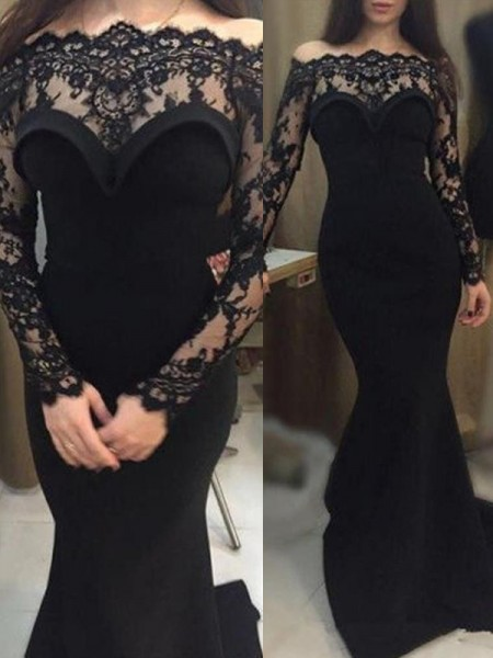 Trumpet/Mermaid Long Sleeves Off-the-Shoulder Sweep/Brush Train Lace Dress