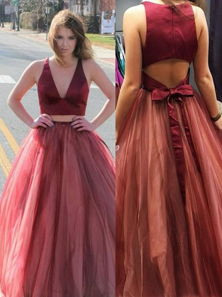A-Line/Princess Sleeveless V-neck Sweep/Brush Train Ruffles Tulle Two piece Dress