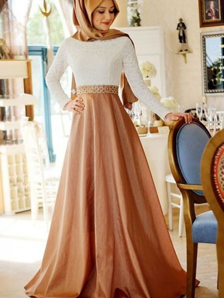 A-Line/Princess Long Sleeves Sweep/Brush Train Lace Satin Muslim Dress