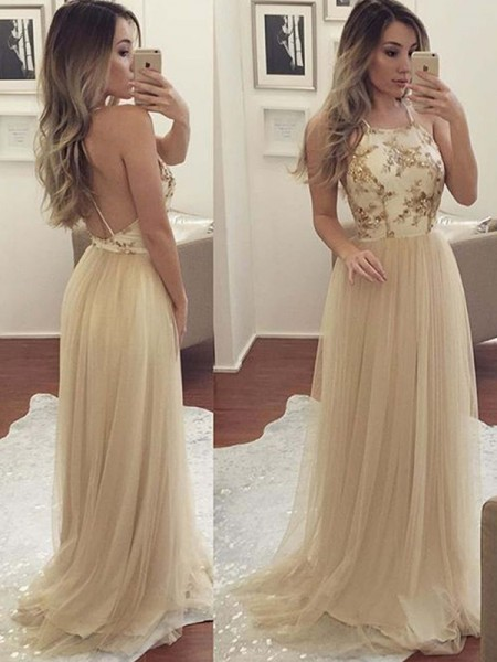 A-Line/Princess Sleeveless Halter Long Tulle Dress