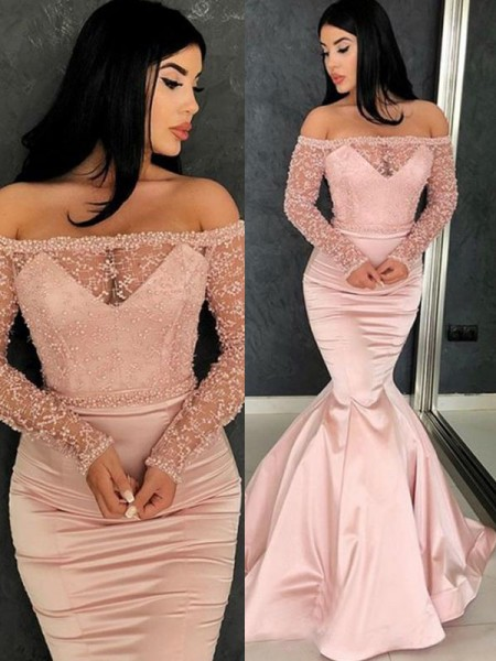 Trumpet/Mermaid Long Sleeves Off-the-Shoulder Sweep/Brush Train Ruffles Satin Dress