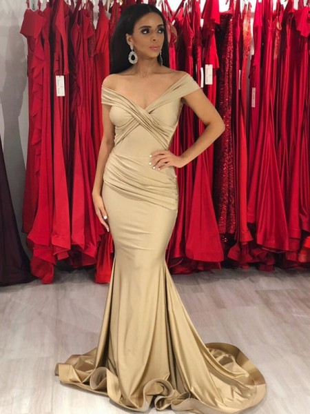 Trumpet/Mermaid Sleeveless Off-the-Shoulder Sweep/Brush Train Ruffles Satin Dress