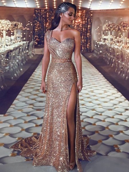 Sheath/Column One-Shoulder Sleeveless Sweep/Brush Train Beading Sequins Dress