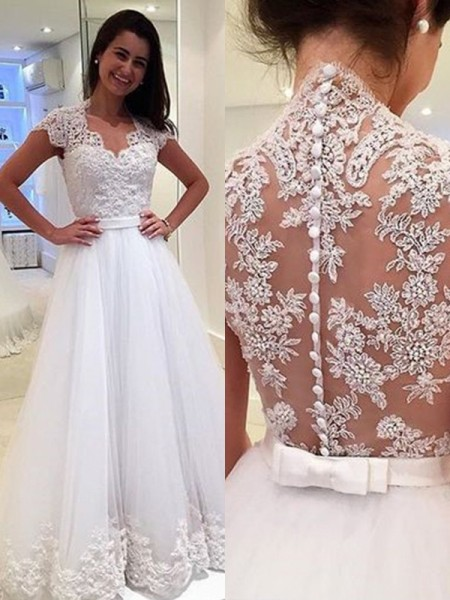 A-Line/Princess Sleeveless V-neck Applique Tulle Floor-Length Wedding Dress