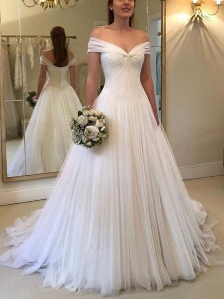 A-Line/Princess Off-the-Shoulder Sleeveless Ruched Tulle Sweep/Brush Train Wedding Dress