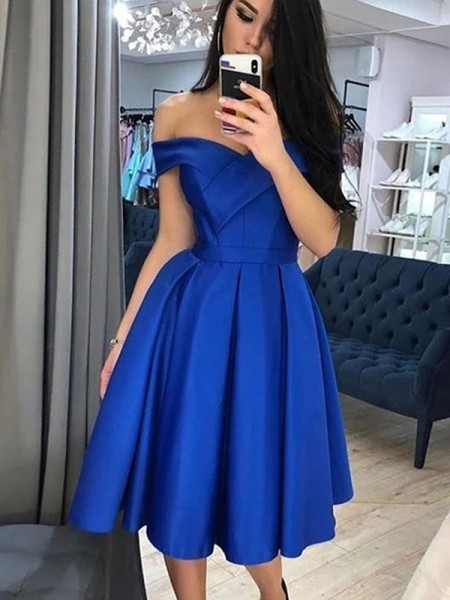 A-Line/Princess Satin Ruffles Off-the-Shoulder Sleeveless Knee-Length Dress