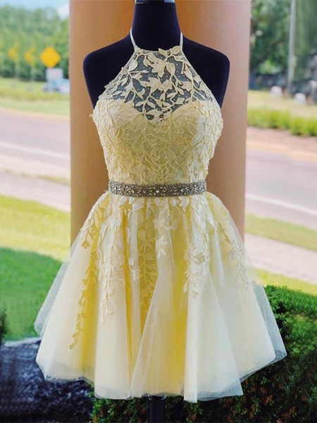A-Line/Princess Tulle Halter Sleeveless Applique Short/Mini Dress
