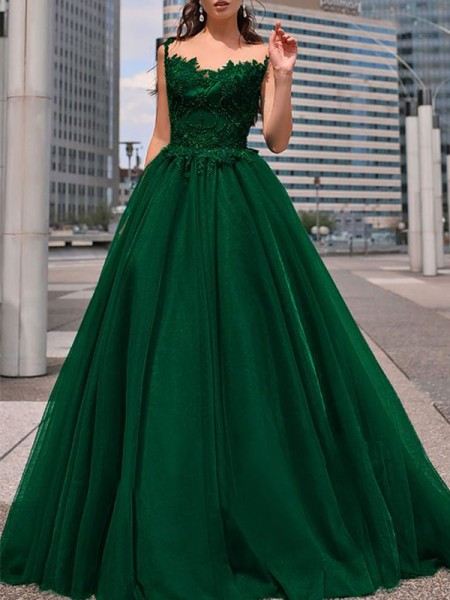 A-Line/Princess Bateau Tulle Beading Long Sleeveless Dress