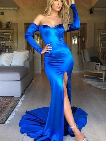 Trumpet/Mermaid Ruched Elastic Woven Satin V-neck Long Sleeves Court Train Dress