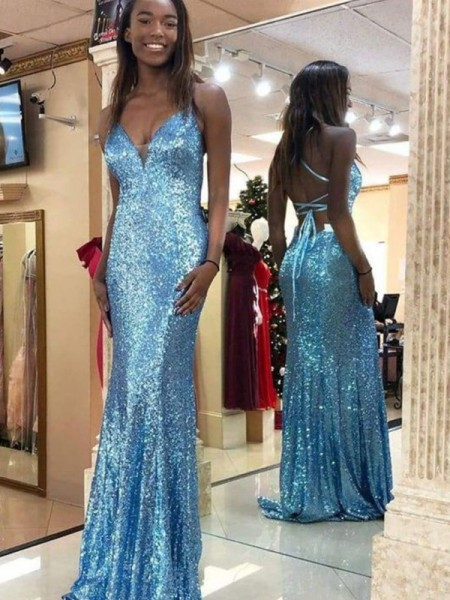 Trumpet/Mermaid Sequins Sleeveless V-neck Ruffles Sweep/Brush Train Dress