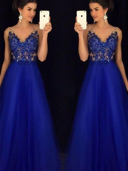 A-Line/Princess Sleeveless V-neck Floor-Length Applique Dresses with Tulle