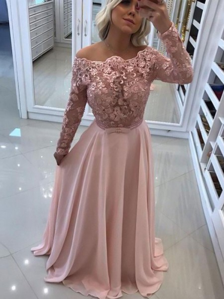 Floor-Length A-Line/Princess Bateau Long Sleeves Dresses with Chiffon
