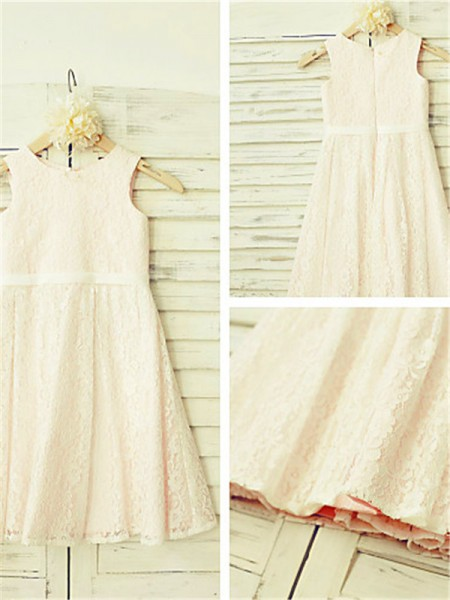 A-line/Princess Jewel Tea-Length Flower Girl Dress with Lace