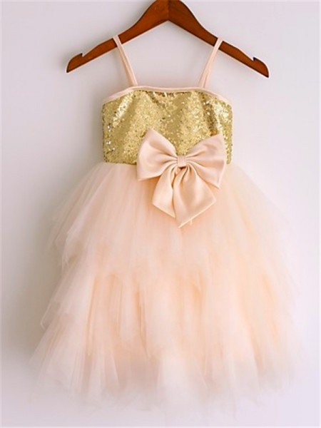 A-line/Princess Spaghetti Straps Sequin Tea-Length Net Flower Girl Dress