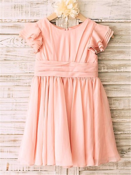 A-line/Princess Scoop Tea-Length Chiffon Flower Girl Dress