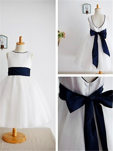 A-line/Princess Scoop Bowknot Ankle-Length Tulle Flower Girl Dress