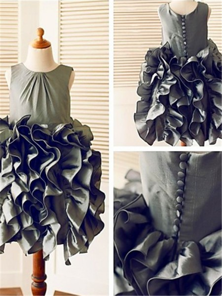 Ball Gown Straps Ruffles Tea-Length Tulle Flower Girl Dress