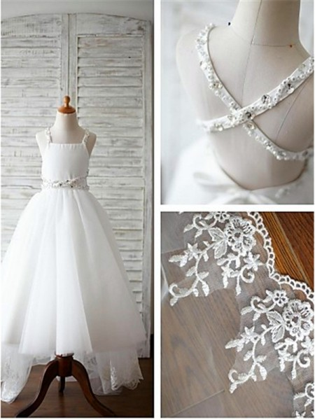 A-line/Princess Spaghetti Straps Beading Sweep/Brush Train Tulle Flower Girl Dress