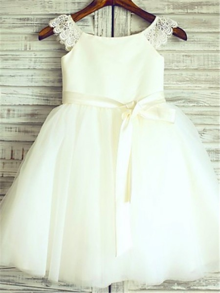 A-line/Princess Scoop Sash/Ribbon/Belt Knee-Length Tulle Flower Girl Dress