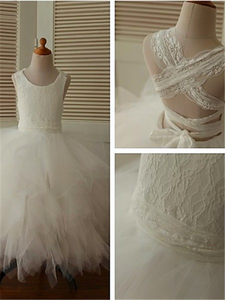 Ball Gown Scoop Ankle-Length Organza Flower Girl Dress with Lace