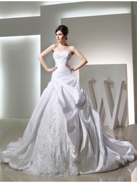 Ball Gown Long Satin Strapless Wedding Dress