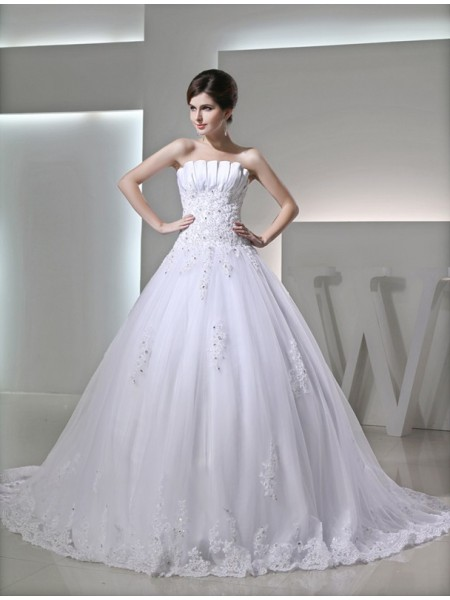 Ball Gown Strapless Satin Applique Wedding Dress