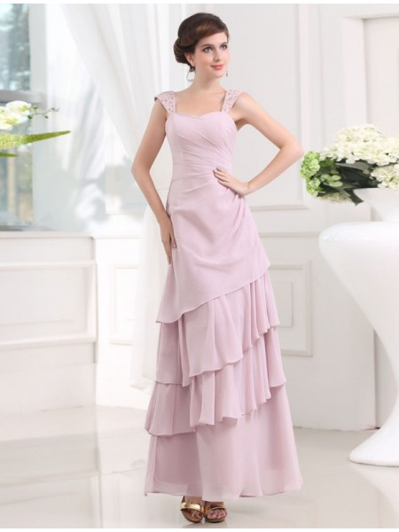 A-Line/Princess Straps Layered Chiffon Long Dress