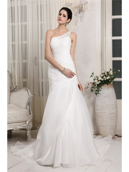 Trumpet/Mermaid One-Shoulder Applique Long Organza Wedding Dress