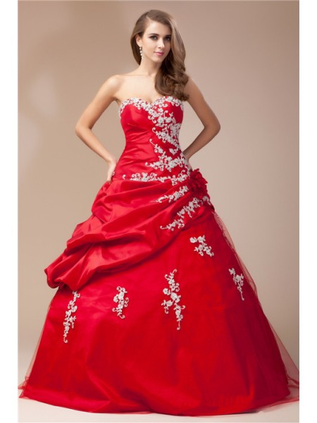 Ball Gown Sweetheart Lace Long Taffeta Net Dress