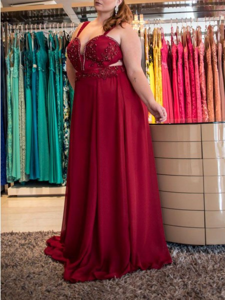 A-Line/Princess Straps Beading Sweep/Brush Train Chiffon Plus Size Dress