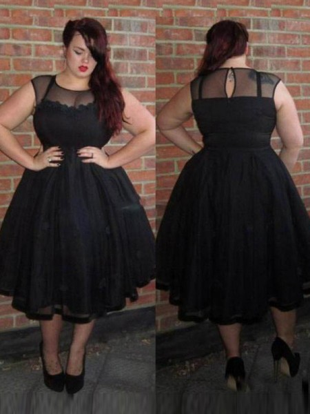 A-Line/Princess Scoop Applique Ankle-Length Tulle Plus Size Dress