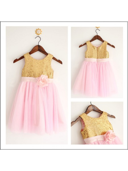 A-Line/Princess Scoop Sequin Flower Girl Dress with Tulle