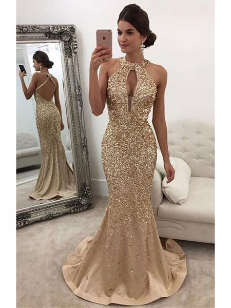 Trumpet/Mermaid Halter Sequin Sweep/Brush Train Satin Dress