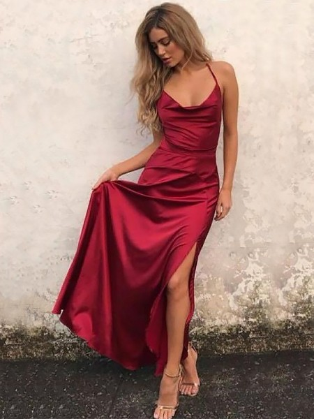 A-Line Spaghetti Straps Floor-Length With Ruffles Elastic Woven Satin Dress
