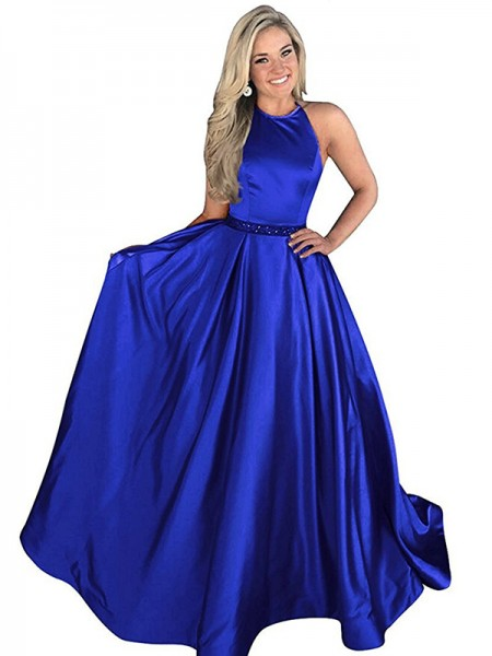 A-Line/Princess Halter Sweep/Brush Train Beading Satin Dress