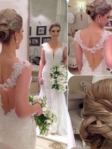 Trumpet/Mermaid Sleeveless V-neck Applique Lace Tulle Wedding Dress