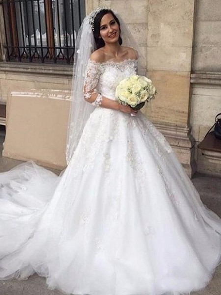 Ball Gown Tulle 3/4 Sleeves Chapel Train Wedding Dress
