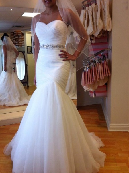 Trumpet/Mermaid Sweetheart Court Train Tulle Wedding Dress