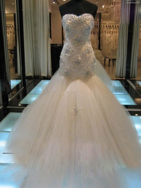 Trumpet/Mermaid Sweetheart Chapel Train Tulle Wedding Dress