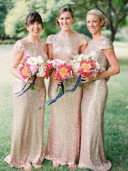 Sheath/Column Bateau Floor-Length Sequins Bridesmaid Dress