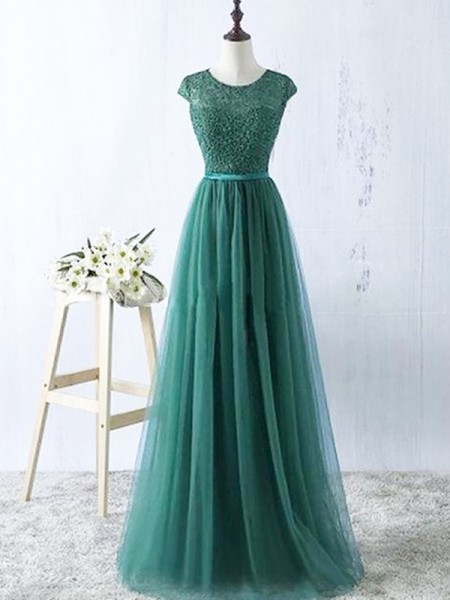A-Line/Princess Scoop Tulle Floor-Length Dress