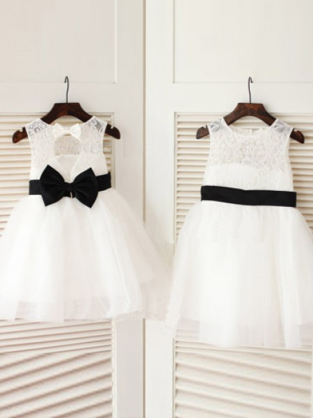 A-line/Princess Scoop Bowknot Knee-Length Tulle Dress