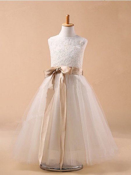 Ball Gown Jewel Bowknot Tea-Length Tulle Dress
